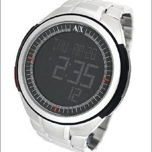 Armani exchange digital stainless steel watch